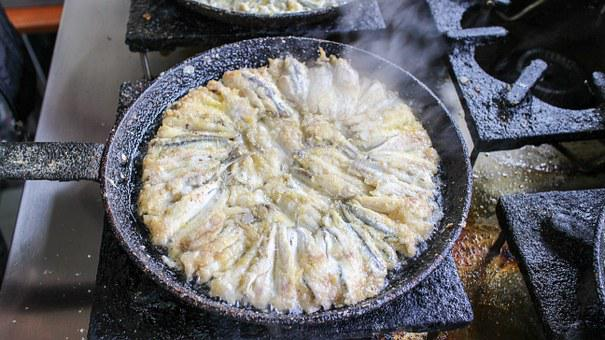 Fried Anchovy, Frying Pan, Cooking, Fish, Food, Seafood