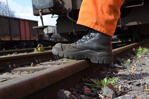 Work Shoes, Rail, Track, Seemed Head, Goods Wagons