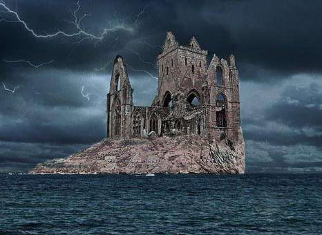 Assembly, Night, Storm, Island, Rock, Fortress, Ruins