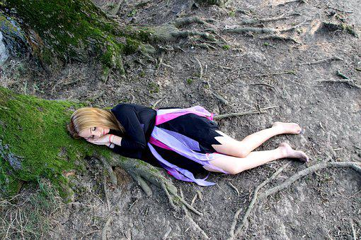 Girl, Forest, Sleep, Elf, Roots, Blonde, Story