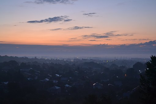 Dawn, At Home, Fog, City, Sun, Village, Landscape