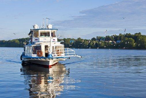 River, M V, Summer, Water, Volga, Ladder, Sky, Gulls