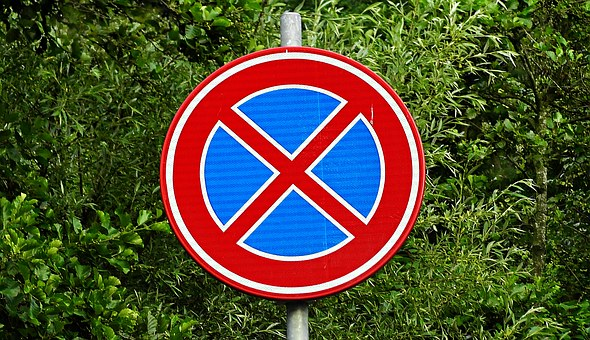 Traffic Sign, No Stopping, Prohibition, Warning