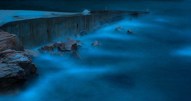 Sea, Night, Kai, Water, Blue, Old