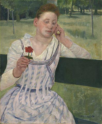 Mary Cassatt, Lady, Zinnia, Vintage, Painting, Woman