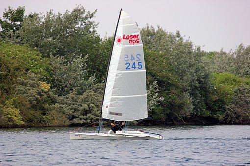 Laser, Eps, Boat, Sail, Sailing, Water, Liquid, Trees