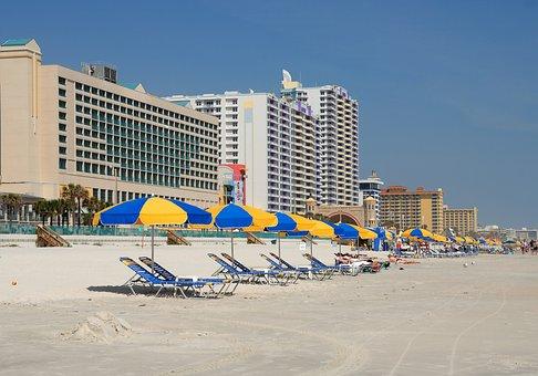 Daytona Beach, Florida, Seascape, Ocean, Sand, Blue