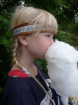 Girl, Indians, Carnival, Cotton Candy, Blond, Child