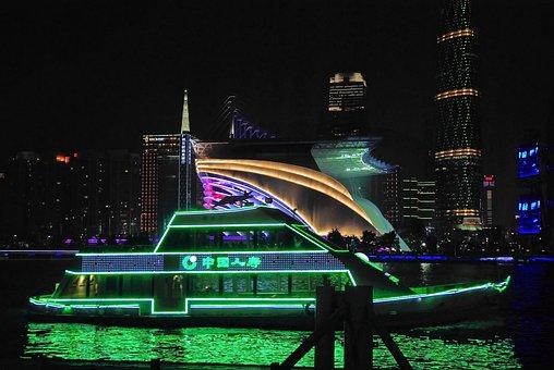China, Guangdong, Canton, Port, Illumination, Ship