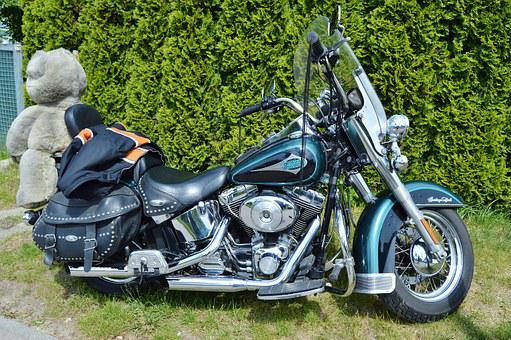 Motorcycle, Harley Davidson, Blue, Silver, Side View