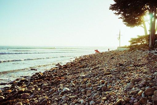 Beach, Pebbles, Shore, Coast, Ocean, Sunset, Holidays