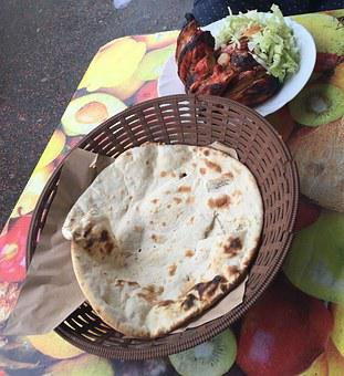 Tikka Chicken, Naan, Indian, Food, Bread