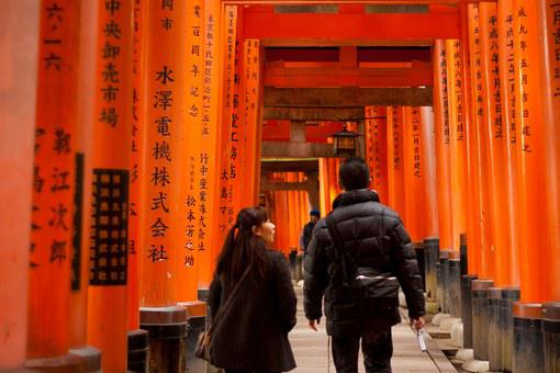 Asian, Japanese, Japan, Temple, Gates, Red