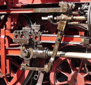 Steam Locomotive, Engine, Drive, Linkage, Wheel