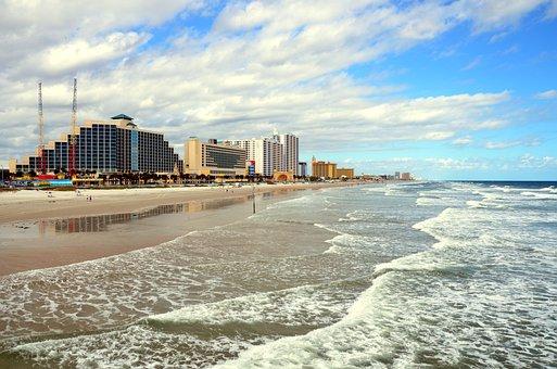 Daytona Beach, Florida, Beach, Ocean, Sky, Sand, Blue