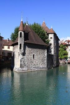 Annecy, Lake, Prison, Former, Monument, Water, Sky