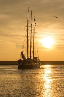 Sunset, Sailboat, Yellow, Orange, Sea, Reflection