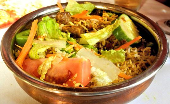Indian Food, Rice, Lamb, Vegetables, Curry, Spices