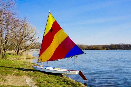 Boat, Sail, Water, Sailboat, Sun, Blue, Yellow, Red