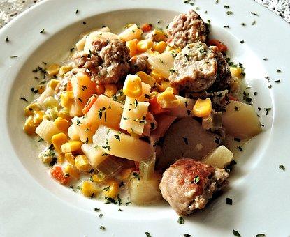 Corn Chowder, Sausage, Potatoes, Carrots, Celery
