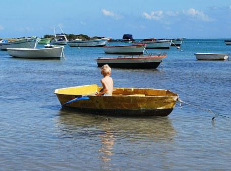 Boy, Boat, Paddle, Alone, Sea, Ocean, Yellow, Sailing