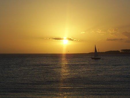 Sun, Sailboat, Sea, Sky, Yellow