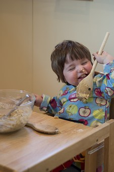 Child, Cake Making, Licking, Spoon, Fun, Young, Baby