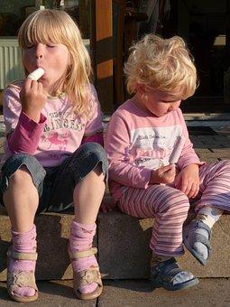 Summer, Sun, Ice, Ice Cream, Children Girls, Blond