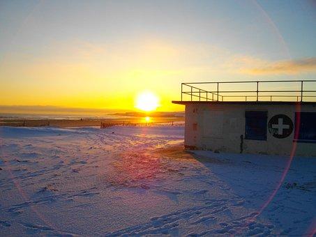 Sunrise, Beach, Coast, Sun, Sand, Horizon, Peaceful