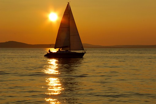 Sailing Boat, Sunset, Sea, Surface, Reflection, Yellow