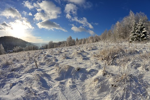 First Snow, Winter In The Mountains, Krynica Mountain