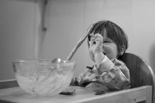 Cake Making, Child, Fun, Young, Baby, Girl, Cake Mix