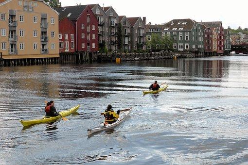 Sports, Canoe, Port, Water, Warehouses, Norway, Boats