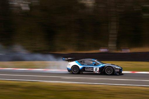 Aston Martin, British Gt, Race Car, Car, Smoke, Speed