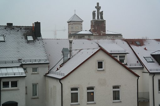 Houses, City, Apartments, Church, Foggy, Wintry, Cold