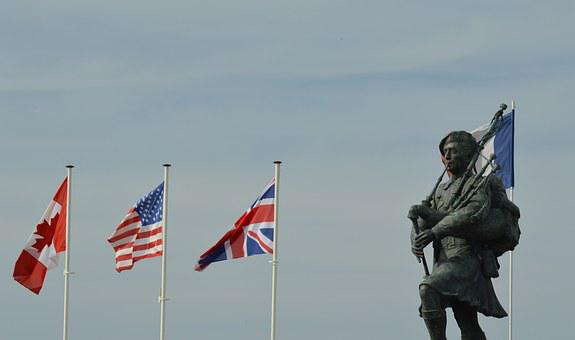 Statue, Flag, Bronze, Commemoration, Tribute, Soldiers
