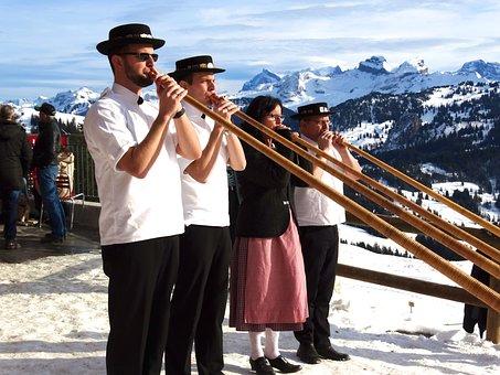 Alphorn Blowers, Snow Mountains, Folklore