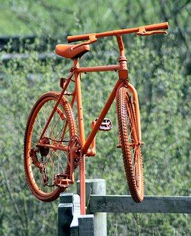 Bike, Bicycle, Orange, Fence-post, Foliage, Greenery