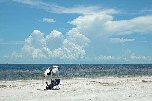 Beach, Day, Beach Chairs, Umbrella, Nobody, Summer, Sea