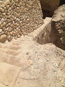 Stairs, Jericho, Stone, Rock, Palestine, Desert, Israel