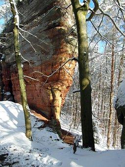 Rock, Climb, Winter, Palatinate, Old Castle Rock