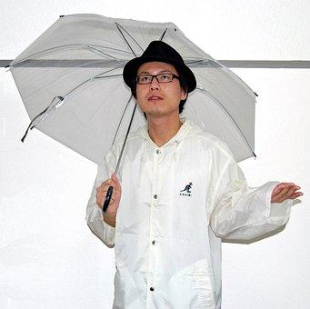Male, Person, Umbrella, Rain Coat, Vinyl, Nylon, Hat