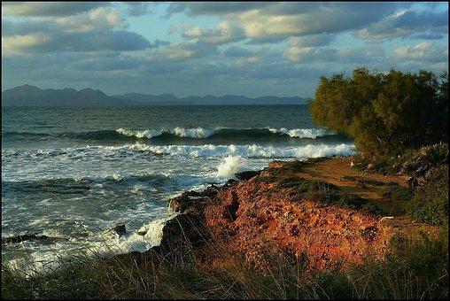 Sea, Beach, Water, Wave, Clouds, Cloud, Mood, Rock, Sky
