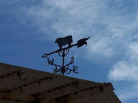 Weather Vane, Sky, Barn, Wind, Direction, Blue, East