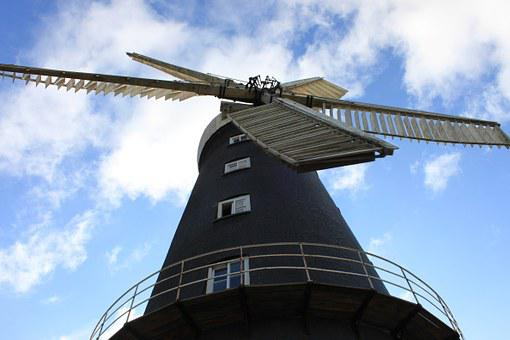 Windmill, Sail, Wind, Old, Mill, Historical, Blue, Sky