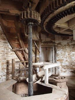 Windmill, Mill, Wood, Machinery, Cogs, Grinding