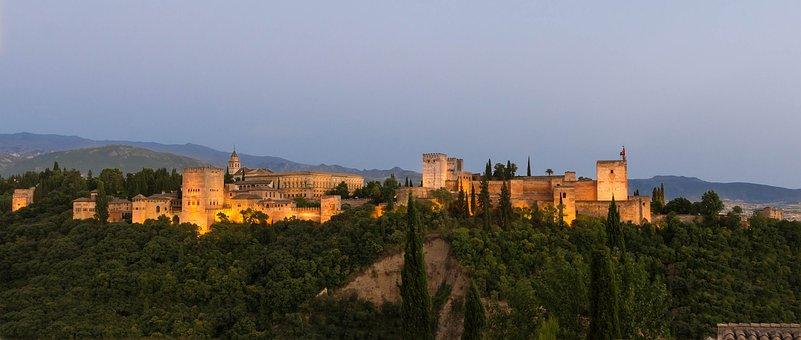 Alhambra, Granada, Spain, Dusk, View, Pamorama