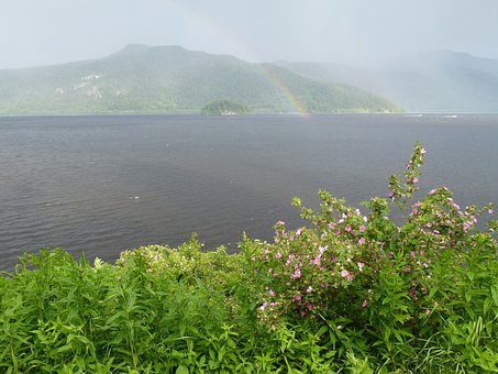 Thunderstorm, Rain, Rainbow, Canim Lake