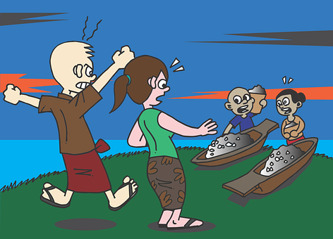 Burma, Mon, Karen, Fishermen, Shout, Argue, Fight, Boat