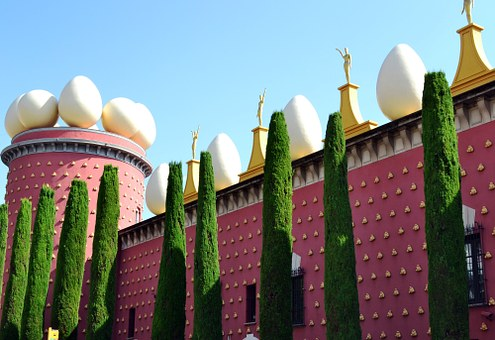 Dali Museum, Figueras, Wall, Egg, Cypress, Spain